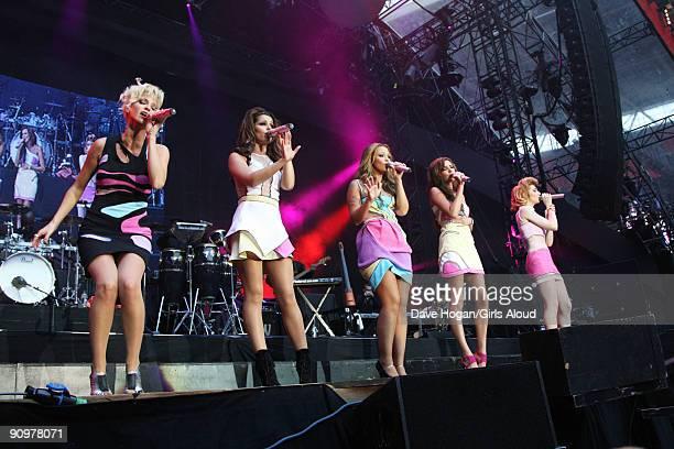 Sarah Harding Cheryl Cole Kimberley Walsh Nadine Coyle and Nicola Roberts of Girls Aloud perform at Wembley Stadium as part of Coldplay's Viva La...