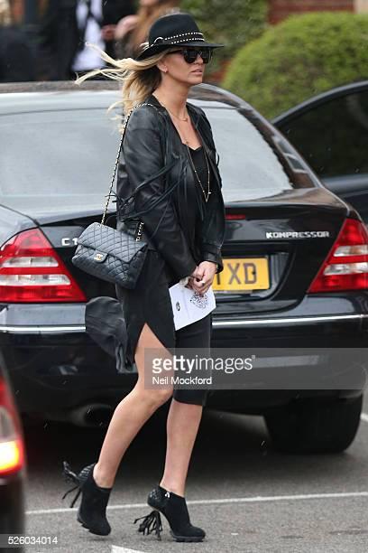 Sarah Harding departs the funeral of David Gest at Golders Green Crematorium on April 29 2016 in London England