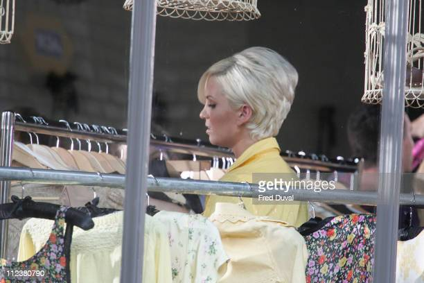 Sarah Harding during Girls Aloud on Location for a Sunsilk Commercial April 15 2007 at East London in London Great Britain