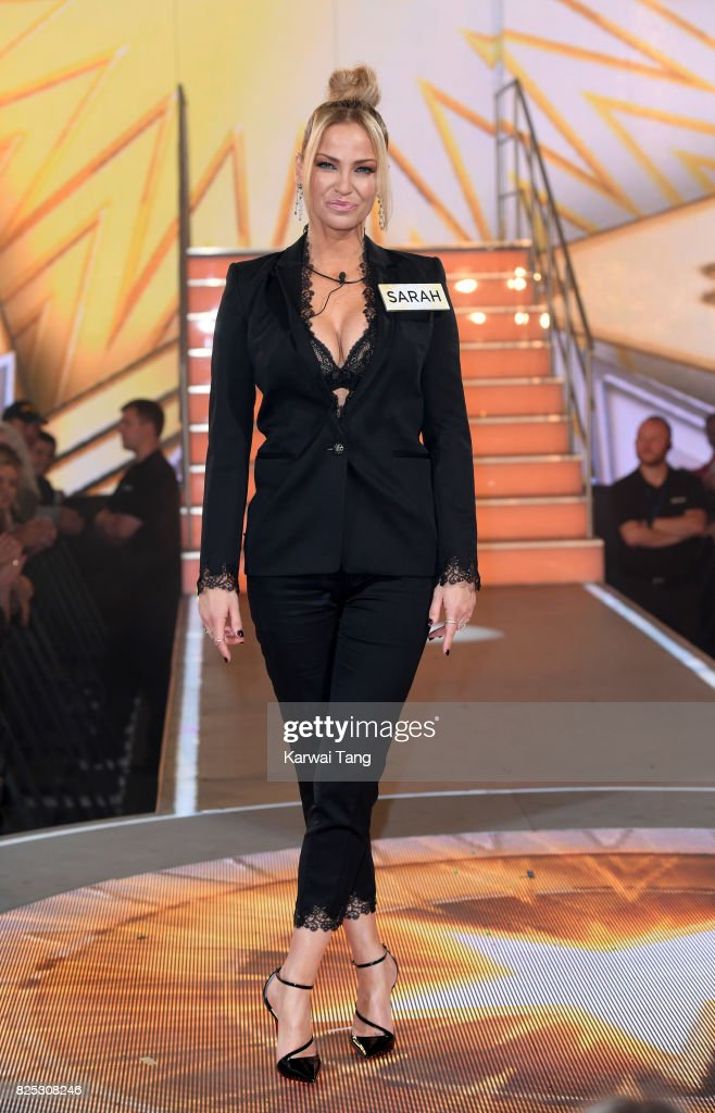 Sarah Harding enters the Big Brother House for the Celebrity Big Brother launch at Elstree Studios on August 1, 2017 in Borehamwood, England.