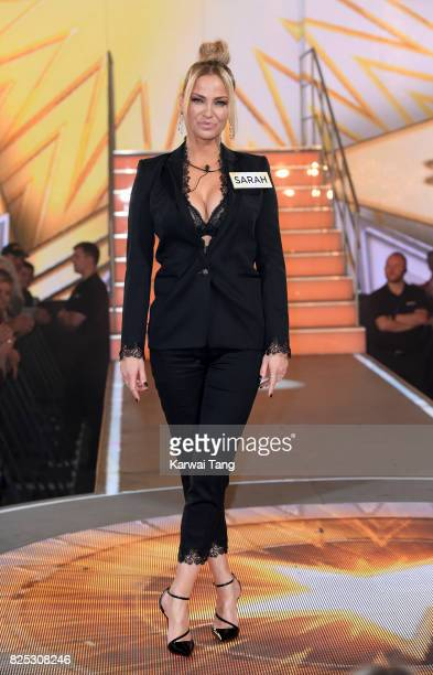 Sarah Harding enters the Big Brother House for the Celebrity Big Brother launch at Elstree Studios on August 1 2017 in Borehamwood England