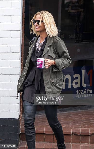 Sarah Harding is seen leaving signal radio on July 20 2015 in Stoke on Trent England