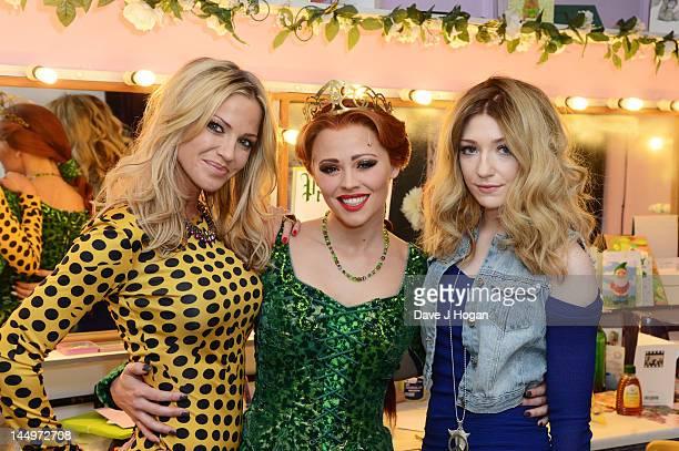 Sarah Harding Kimberley Walsh and Nicola Roberts pose backstage at the last night of Kimberley Walsh's run as Fiona in the musical 'Shrek' at The...