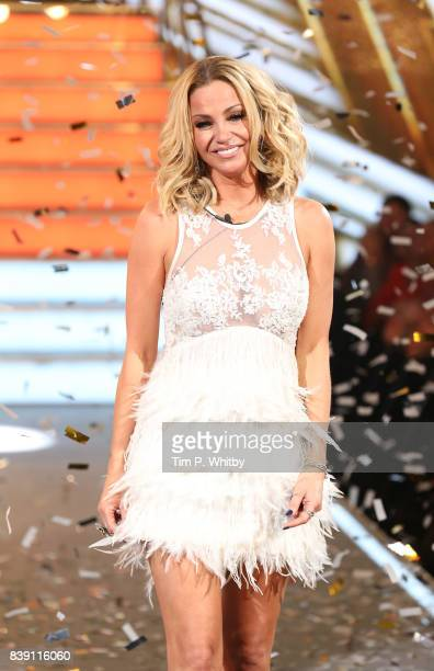 Sarah Harding leaves the house after being announced as the winner during the Celebrity Big Brother Final at Elstree Studios on August 25 2017 in...