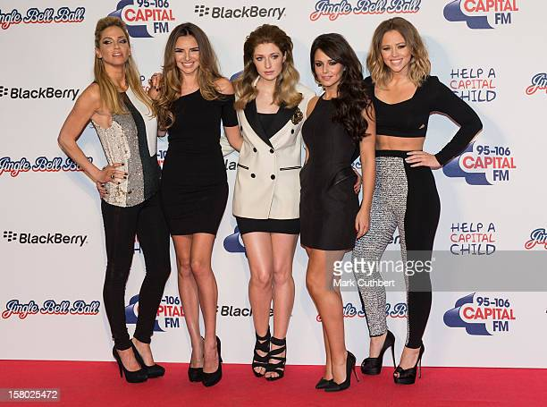 Sarah Harding Nadine Coyle Nicola Roberts Cheryl Cole and Kimberley Walsh of Girls Aloud attend the Capital FM Jingle Bell Ball at 02 Arena on...