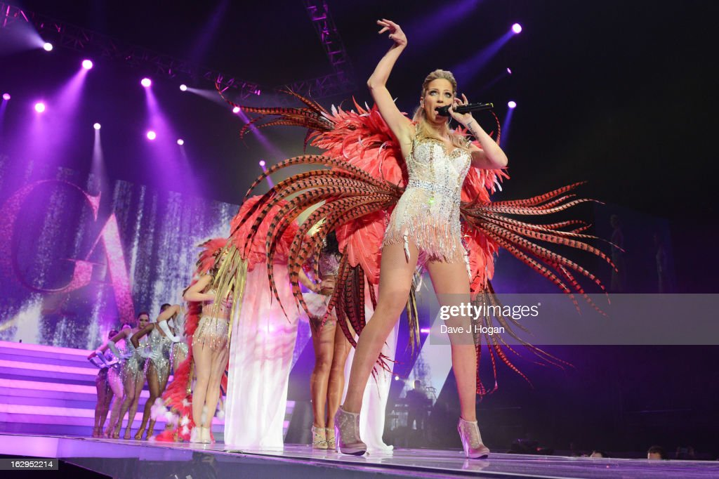 Sarah Harding of Girls Aloud performs on their 'Ten - The Hits Tour' at The O2 Arena on March 1, 2013 in London, England.