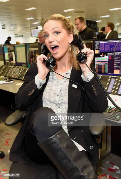 Sarah Harding representing Brainwave makes a trade at the BGC Charity Day on September 11 2017 in Canary Wharf London United Kingdom