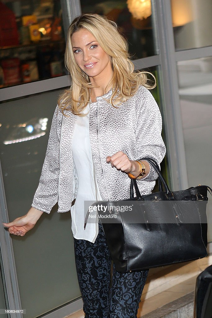 Sarah Harding seen arriving at The Soho Hotel on February 4, 2013 in London, England.