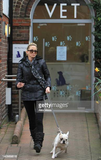 Sarah Harding seen taking her dogs to the vets on March 9 2012 in London England