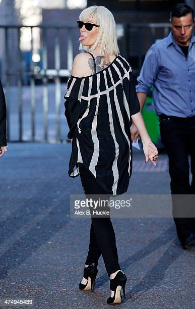 Sarah Harding sighted leaving the ITV Studios after an appearance on 'Lorraine' on February 26 2014 in London England