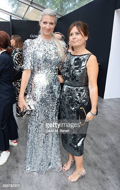 Sarah Harris and British Vogue editor Alexandra Shulman attend British Vogue's Centenary gala dinner at Kensington Gardens on May 23 2016 in London...