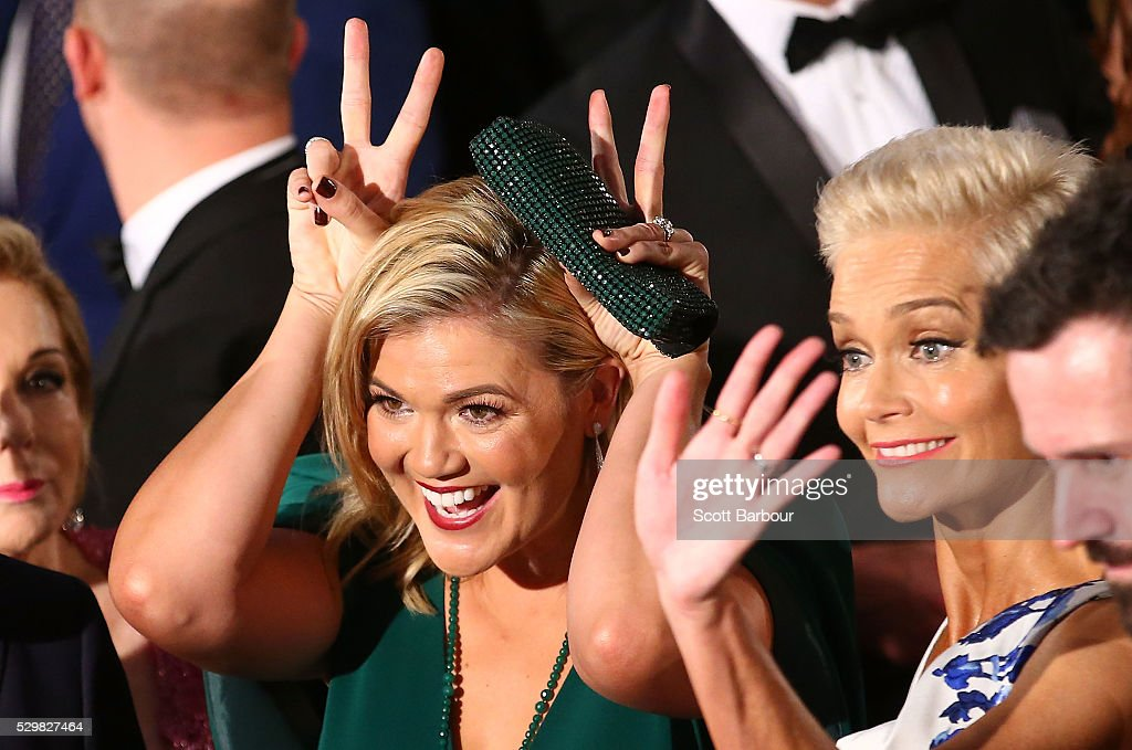 Sarah Harris and Jessica Rowe arrive at the 58th Annual Logie Awards at Crown Palladium on May 8, 2016 in Melbourne, Australia.