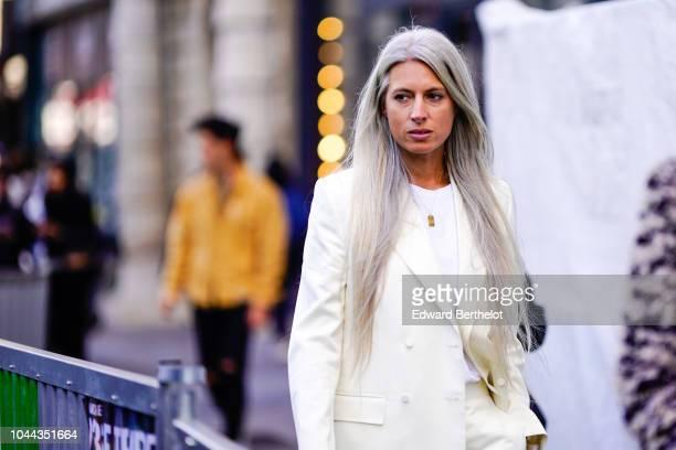 Sarah Harris is seen outside Valentin Yudashkin during Paris Fashion Week Womenswear Spring/Summer 2019 on October 1 2018 in Paris France