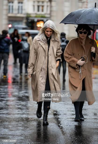 Sarah Harris is seen wearing beige trench coat outside Roksanda during London Fashion Week February 2020 on February 16 2020 in London England