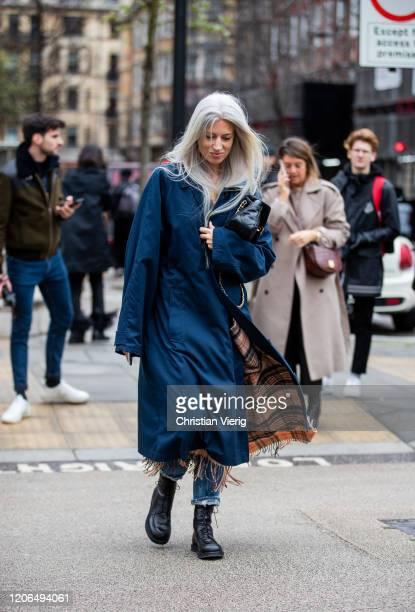 Sarah Harris is seen wearing blue coat black Chanel bag outside Petar Petrov during London Fashion Week February 2020 on February 15 2020 in London...