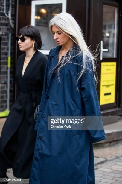 Sarah Harris is seen wearing blue coat outside Toga during London Fashion Week February 2020 on February 15 2020 in London England