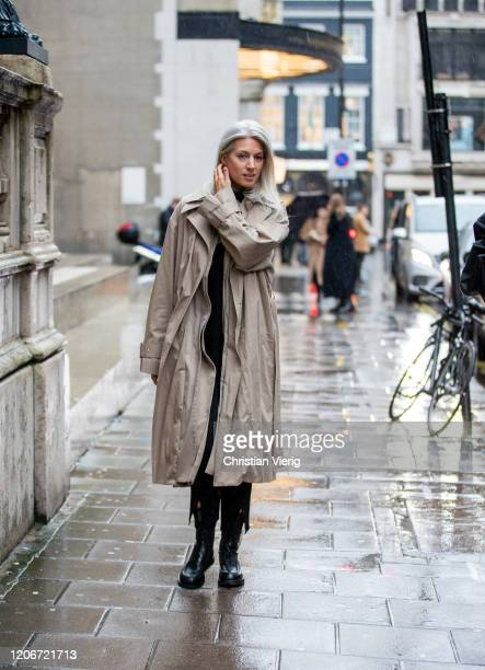 Sarah Harris is seen wearing brown coat outside Emilia Wickstead during London Fashion Week February 2020 on February 16 2020 in London England