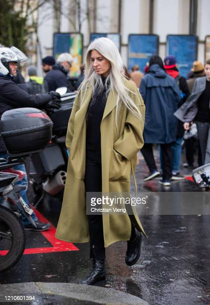 Sarah Harris is seen wearing green coat outside Akris during Paris Fashion Week Womenswear Fall/Winter 2020/2021 Day Eight on March 02 2020 in Paris...
