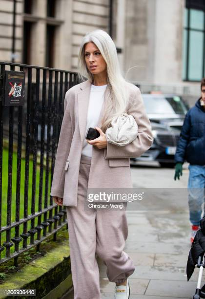 Sarah Harris is seen wearing suit outside Erdem during London Fashion Week February 2020 on February 17 2020 in London England