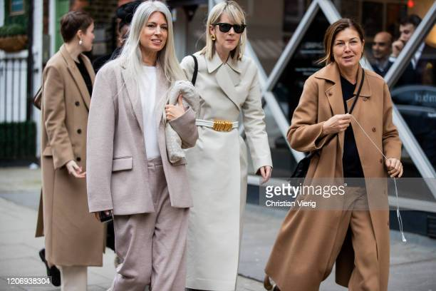 Sarah Harris is seen wearing suit outside JW Anderson during London Fashion Week February 2020 on February 17 2020 in London England