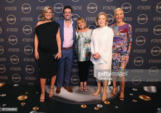Sarah Harris Joe Hildebrand Denise Drysdale Ita Buttrose and Jessica Rowe pose during the Network Ten 2018 Upfronts on November 9 2017 in Sydney...
