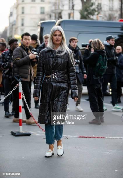 Sarah Harris seen wearing black Bottega Veneta coat outside Ralph Russo during Paris Fashion Week Haute Couture Spring/Summer 2 020 on January 20...