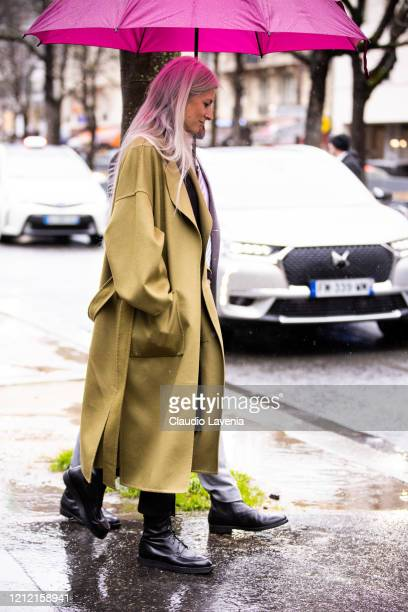 Sarah Harris wearing a green coat is seen outside Sacai during Paris Fashion Week Womenswear Fall/Winter 2020/2021 Day Eight on March 02 2020 in...