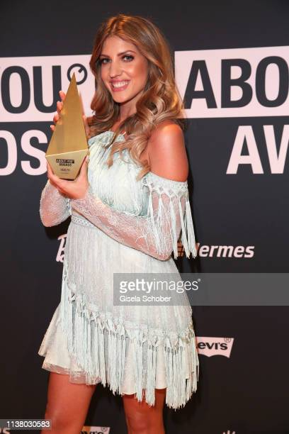 Sarah Harrison with award during the 3rd ABOUT YOU Awards at Bavaria Studios on April 18, 2019 in Munich, Germany.