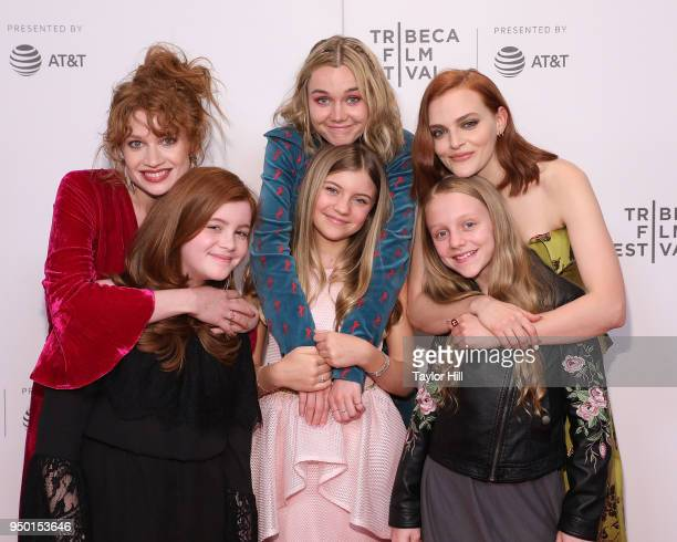 Sarah Hay Imogen Waterhouse and Madeline Brewer pose with the actors who play them as children Tai Lyn Sandhu Dhoni Middleton and Zoe Feigelson at...