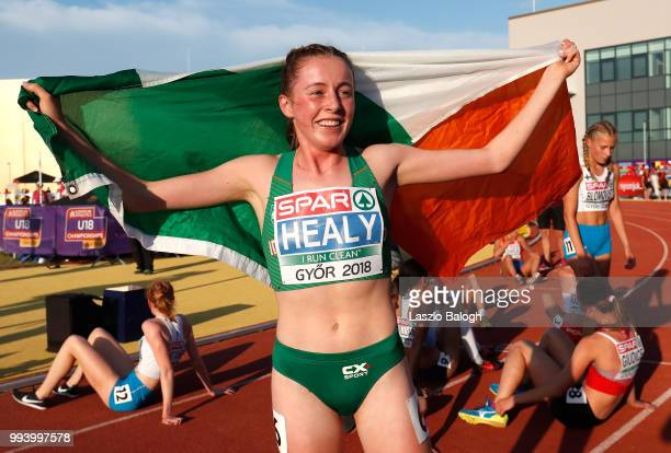 Sarah Healy of Ireland celebrates after she won 1500m run final during European Atletics U18 European Championship on July 8 2018 in Gyor Hungary