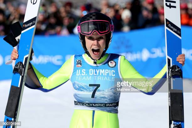 Sarah Hendrickson celebrates after winning the US Womens Ski Jumping Olympic Trials on December 31 2017 at Utah Olympic Park in Park City Utah