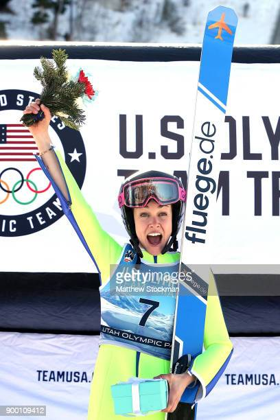 Sarah Hendrickson celebrates on the medals podium after winning the US Womens Ski Jumping Olympic Trials on December 31 2017 at Utah Olympic Park in...