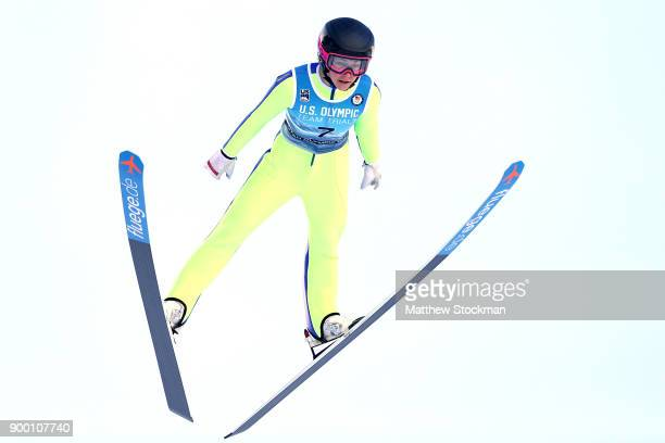 Sarah Hendrickson competes in the US Womens Ski Jumping Olympic Trials on December 31 2017 at Utah Olympic Park in Park City Utah
