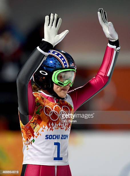 Sarah Hendrickson of the United States acknowledges the crowd after jumping during the Ladies' Normal Hill Individual first round on day 4 of the...
