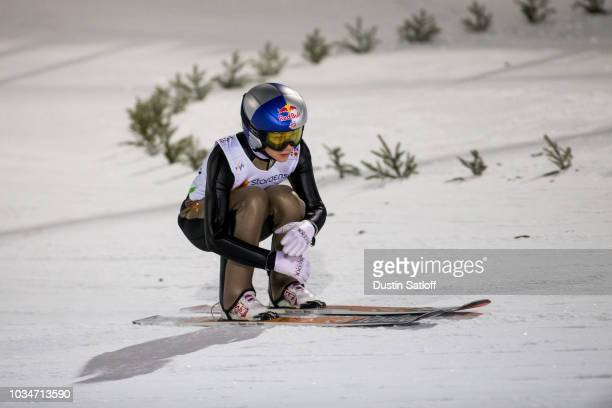 Sarah Hendrickson of the United States competes in the Women's Ski Jumping HS100 during the FIS Nordic World Ski Championships on February 24 2017 in...