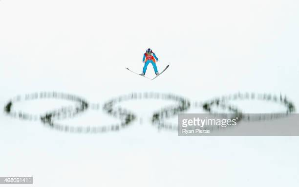Sarah Hendrickson of the United States jumps during the Ladies' Normal Hill Individual Ski Jumping training on day 2 of the Sochi 2014 Winter...
