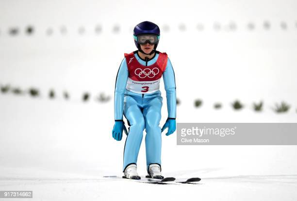 Sarah Hendrickson of the United States lands a jump during the Ladies' Normal Hill Individual Ski Jumping Final on day three of the PyeongChang 2018...