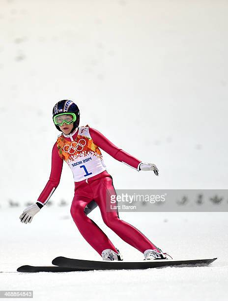 Sarah Hendrickson of the United States lands during the Ladies' Normal Hill Individual final round on day 4 of the Sochi 2014 Winter Olympics at the...