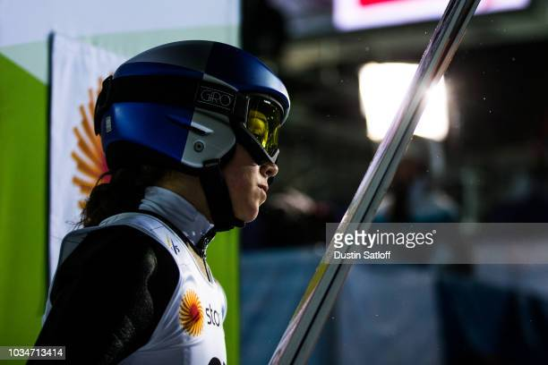 Sarah Hendrickson of the United States leaves the finish area in the Women's Ski Jumping HS100 during the FIS Nordic World Ski Championships on...