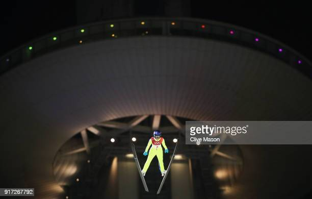 Sarah Hendrickson of the United States makes a trial jump during the Ladies' Normal Hill Individual Ski Jumping Final on day three of the PyeongChang...