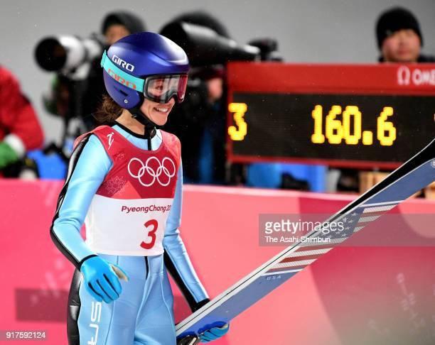 Sarah Hendrickson of the United States reacts after competing in the Ladies' Normal Hill Individual Ski Jumping Final on day three of the PyeongChang...