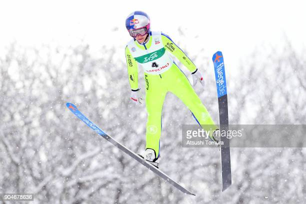 Sarah Hendrickson of the USA competes in the Ladies normal hill individual during day two of the FIS Ski Jumping Women's World cup at Miyanomori Ski...