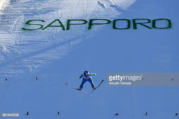 Sarah Hendrickson of the USA competes in the Normal hill Individual during the FIS Women's Ski Jumping World Cup Sapporo at the Miyanomori Ski jump...