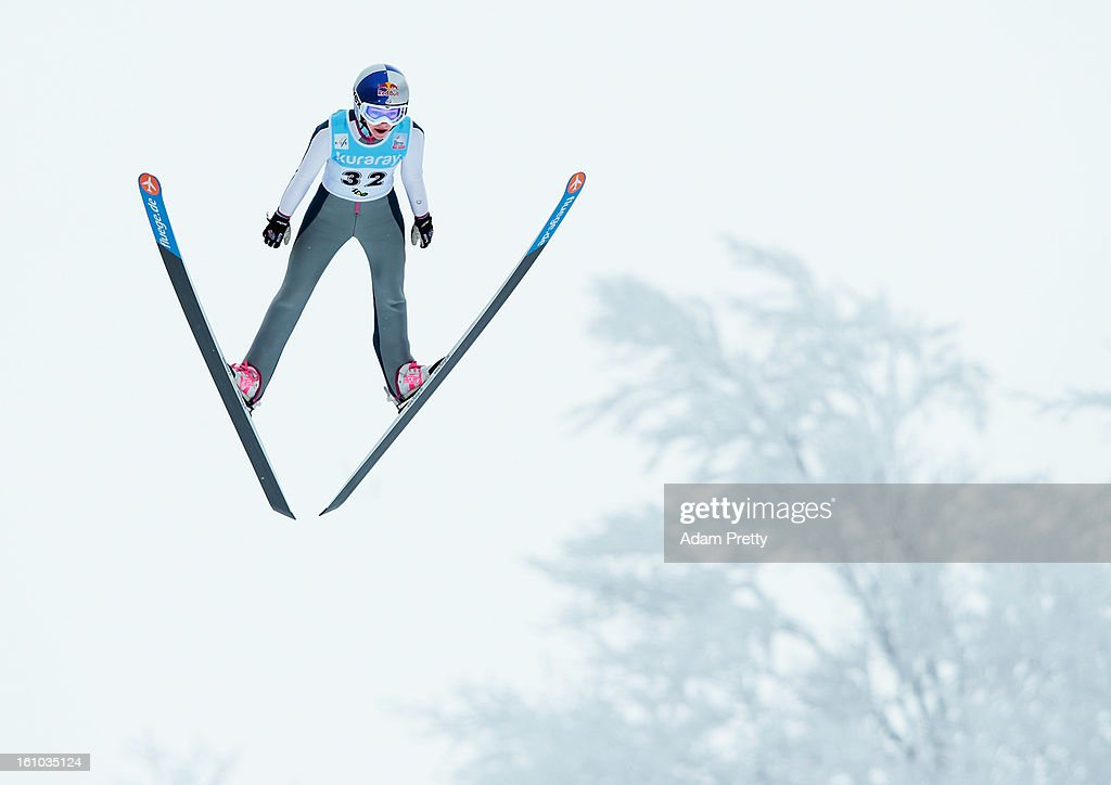 Sarah Hendrickson of the USA jumps in the practice round of competition during day one of the FIS Women's Ski Jumping World Cup at Zao Jump Stadium on February 9, 2013 in Yamagata, Japan.