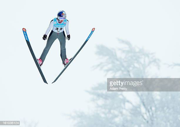 Sarah Hendrickson of the USA jumps in the practice round of competition during day one of the FIS Women's Ski Jumping World Cup at Zao Jump Stadium...