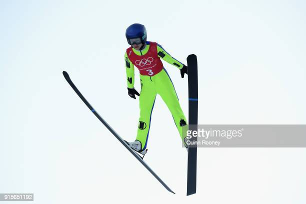 Sarah Hendrickson of United States jumps during Ski Jumping Practice at Alpensia Ski Jumping Centre on February 8 2018 in Pyeongchanggun South Korea