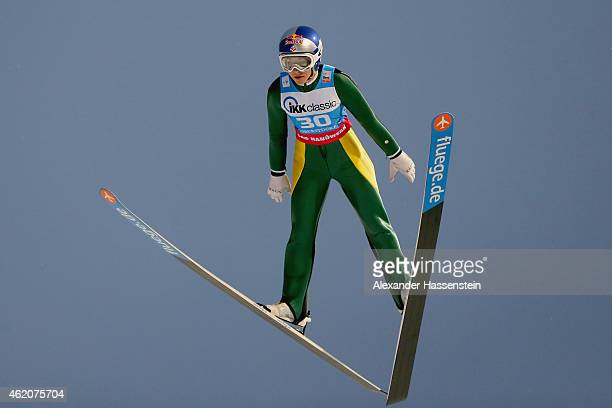 Sarah Hendrickson of USA competes during day one of the Women Ski Jumping World Cup event at SchattenbergSchanze Erdinger Arena on January 24 2015 in...