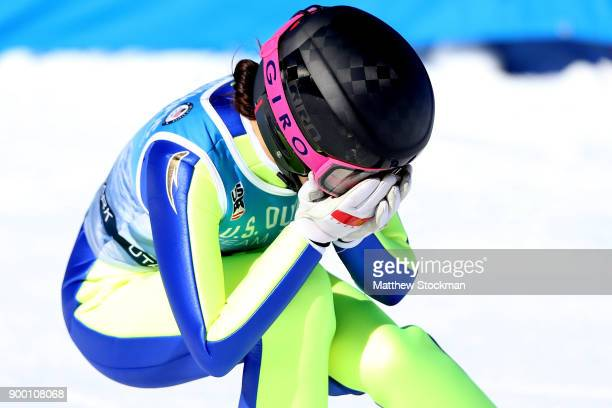 Sarah Hendrickson reacts after her final jump during the US Womens Ski Jumping Olympic Trials on December 31 2017 at Utah Olympic Park in Park City...