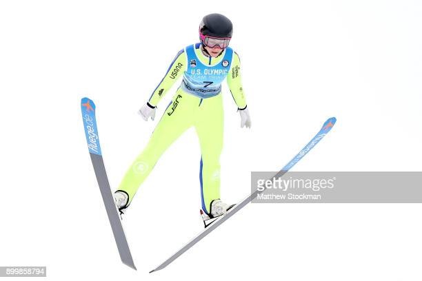 Sarah Hendrickson trains on the Normal Hill in preparation for the US Ladies Ski Jumping Olympic Trials on December 30 2017 at Utah Olympic Park in...