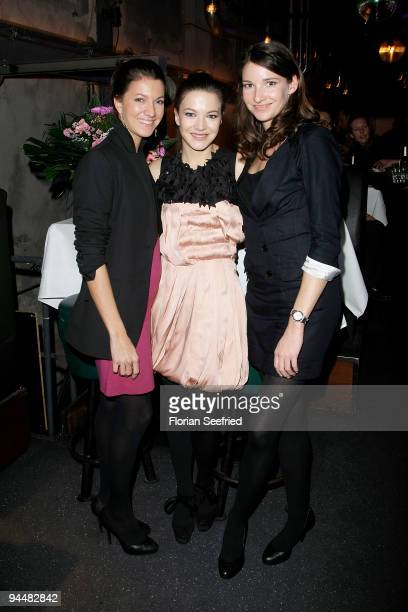 Sarah Herzsprung and sister actress Anna Herzsprung and Sophie Wepper attend the after party of the premiere 'LILA LILA' at Kesselhaus on December 15...